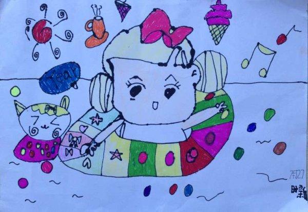 铅笔画-暑假游泳快乐