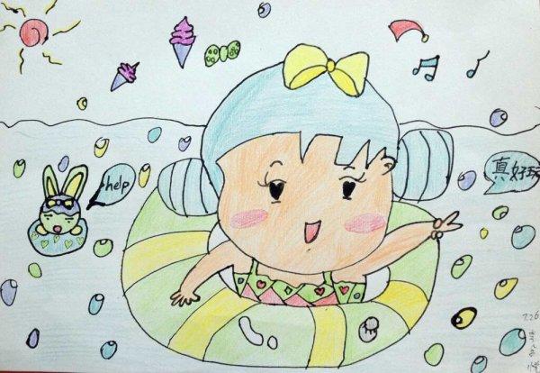 去海边游泳简笔画 去海边游泳图片欣赏 去海边游泳儿童画画作品