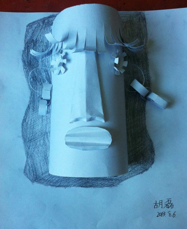 卡通人物 素描 纸浮雕/铅笔画/纸浮雕