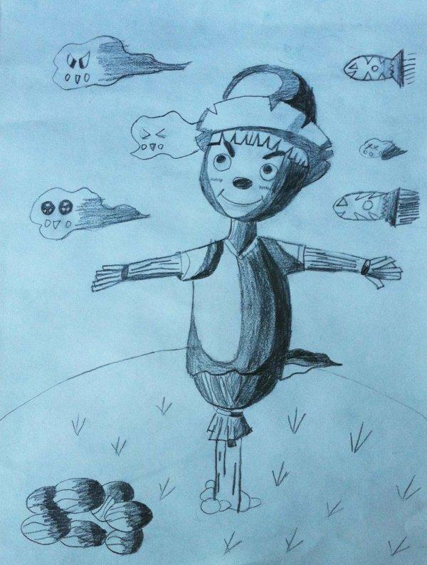 稻草人简笔画 稻草人图片欣赏 稻草人儿童画画作品