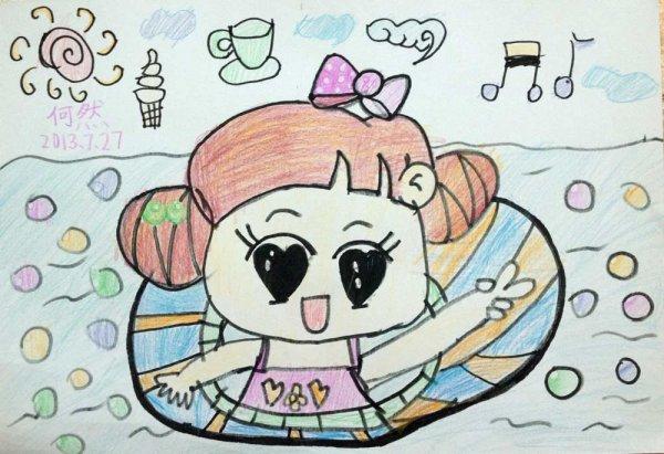 铅笔画-度假游泳去