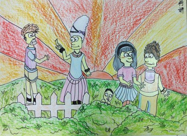 儿童画画 铅笔画 辛普森的假期儿童画画