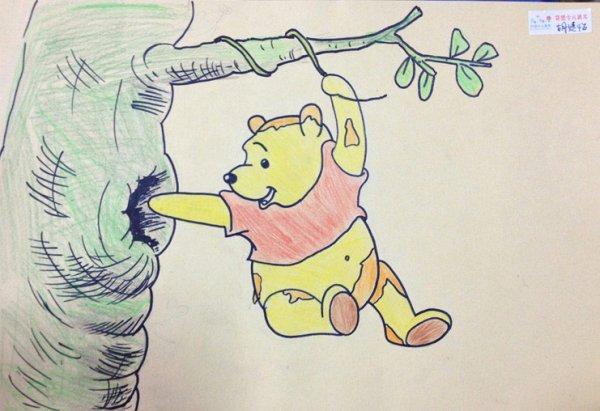 儿童画画 铅笔画 维尼偷蜜吃儿童画画