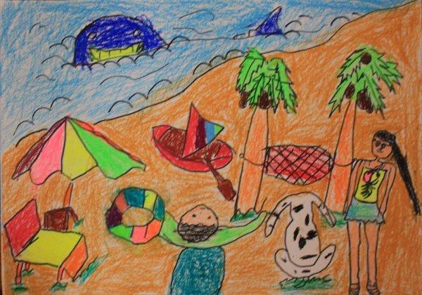 儿童画画 铅笔画 我去海边玩耍儿童画画