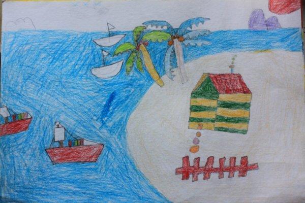 儿童画画 铅笔画 宁静的大海儿童画画