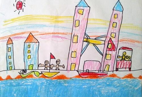儿童画画 铅笔画 一望无际的大海儿童画画