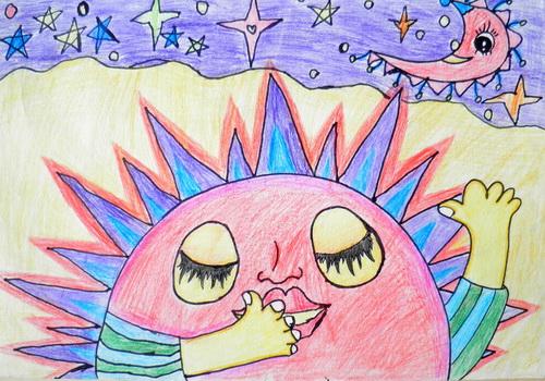 看月亮爬上来简笔画 看月亮爬上来图片欣赏 看月亮爬上来儿童画画作品