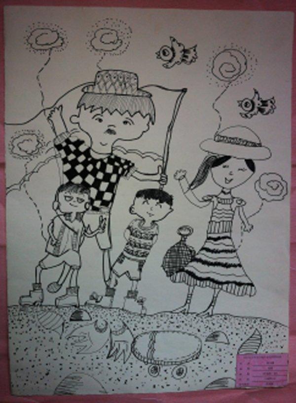 幸福的一家简笔画 幸福的一家图片欣赏 幸福的一家儿童画画作品