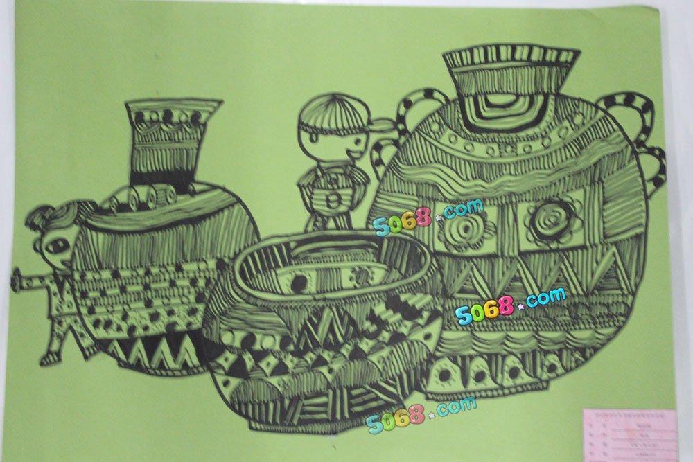 我与青花瓷简笔画 我与青花瓷图片欣赏 我与青花瓷儿童画画作品