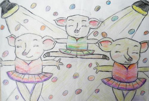 铅笔画-三只小猪的芭蕾舞秀