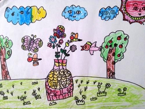 铅笔画之一瓶花 -一瓶花简笔画 一瓶花图片欣赏 一瓶花儿童画画作品
