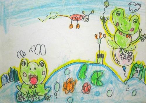 儿童画画 铅笔画 荷塘里的青蛙儿童画画