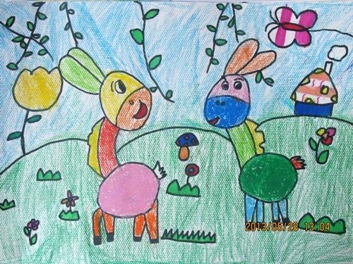 铅笔画-可爱的花毛驴