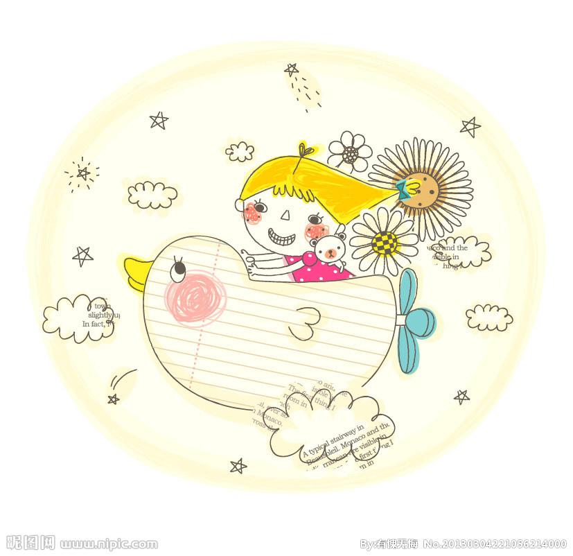 儿童画画 蜡笔画 坐飞机的小女孩儿童画画