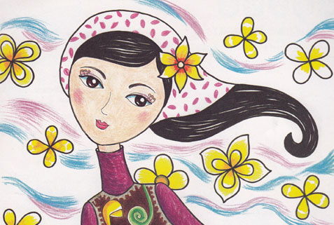 风的女儿简笔画 风的女儿图片欣赏 风的女儿儿童画画作品
