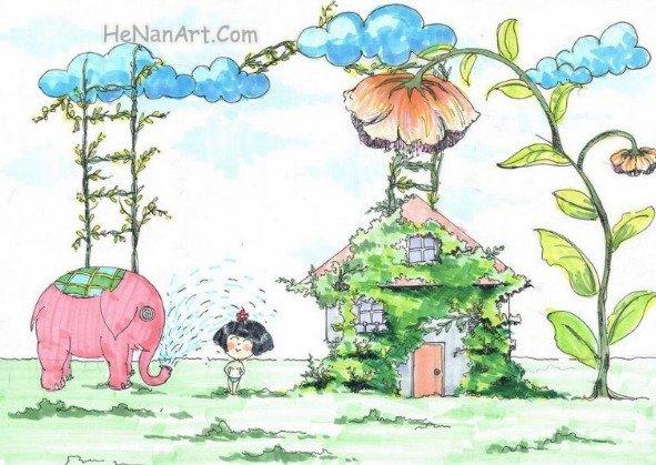 大象给我洗澡简笔画 大象给我洗澡图片欣赏 大象给我洗澡儿童画画作品