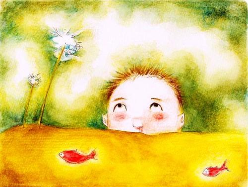 儿童版画-思考中的小男孩