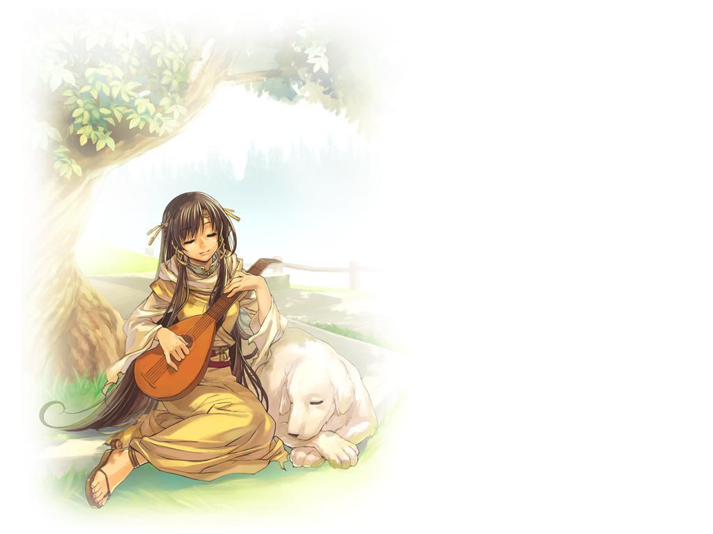 儿童画画 数字油画 弹琵琶的小女孩儿童画画
