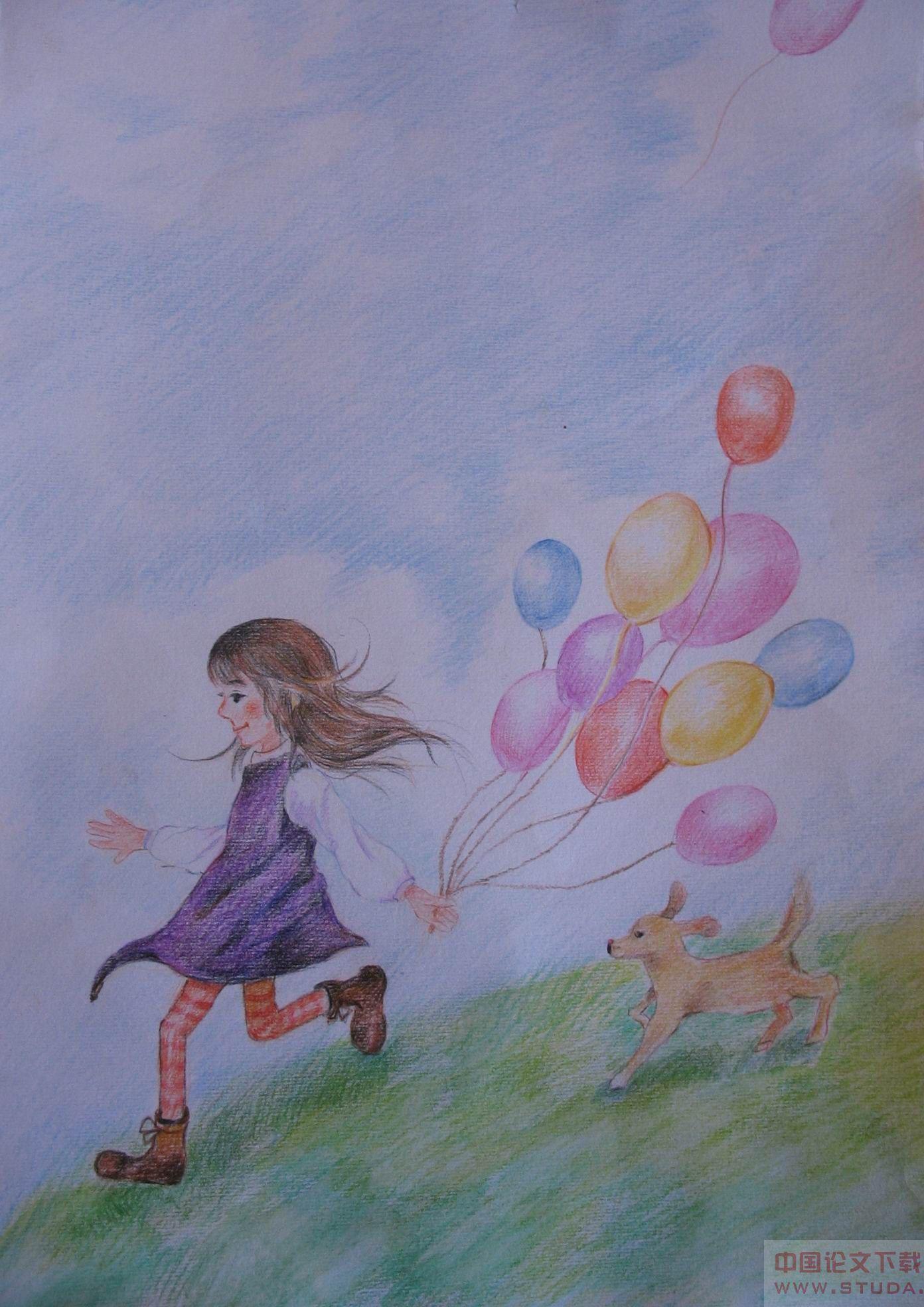 彩色铅笔画风景 手绘