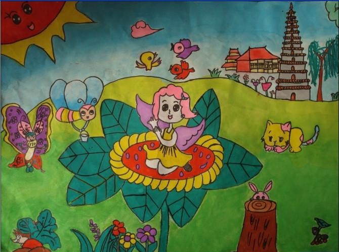 动物们的聚会简笔画 动物们的聚会图片欣赏 动物们的聚会儿童画画作品