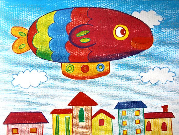 蜡笔画-热气球