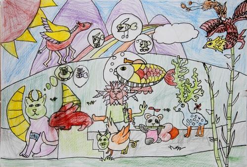 蜡笔画-动物大会