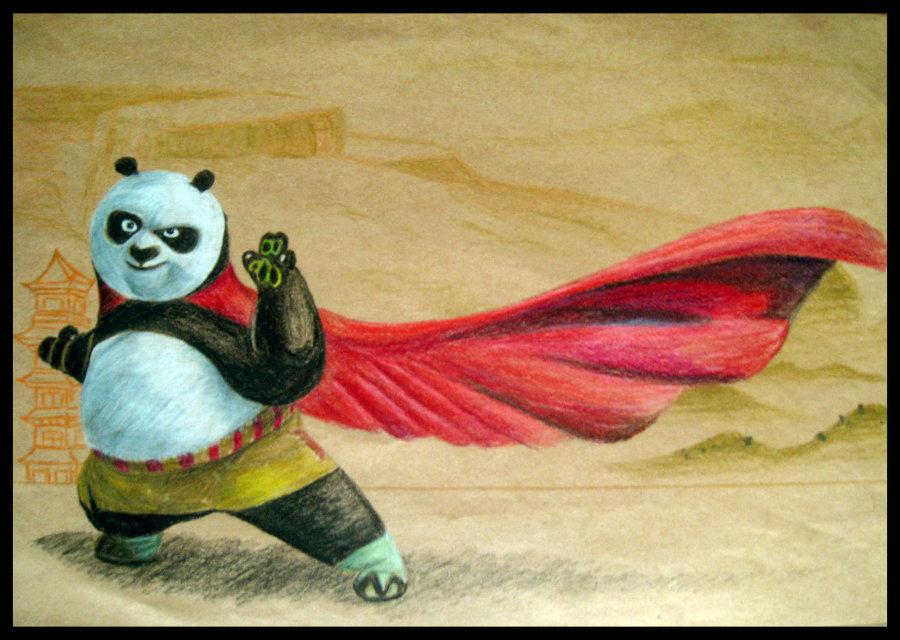 功夫熊猫简笔画 功夫熊猫图片欣赏 功夫熊猫儿童画画作品