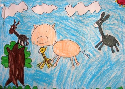 儿童画画 蜡笔画 奔跑的动物们儿童画画