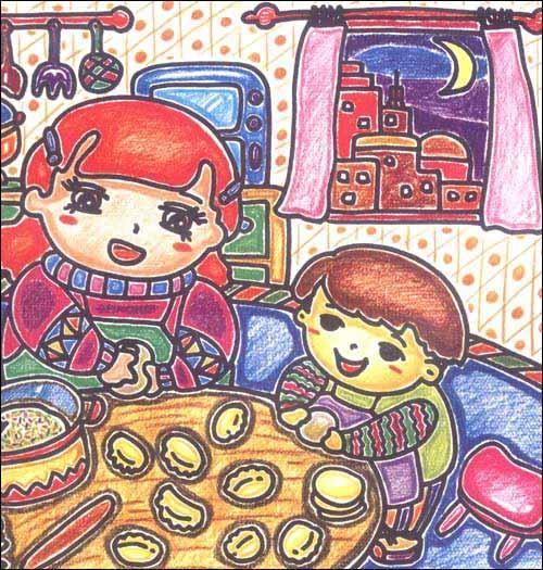 我帮妈妈包饺子简笔画_我帮妈妈包饺子图片欣赏_我帮