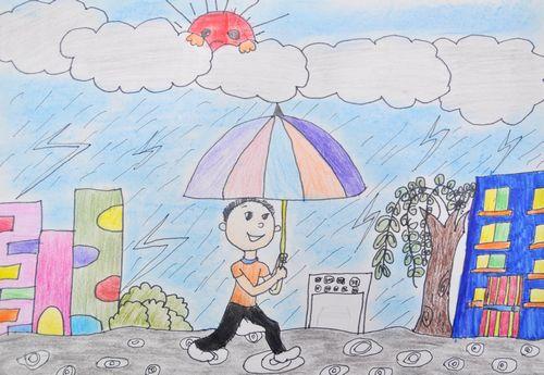 雨天美景简笔画 雨天美景图片欣赏 雨天美景儿童画画作品
