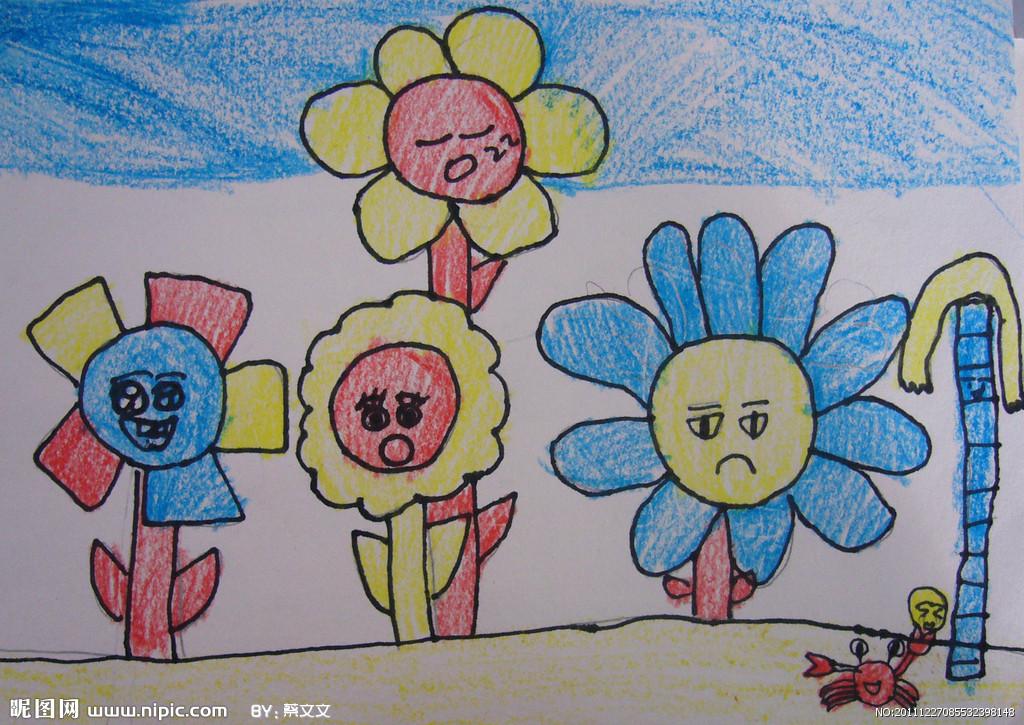 儿童画画 蜡笔画 沉默的向日葵儿童画画