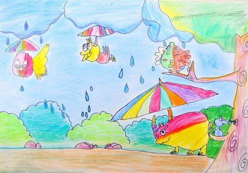 下雨天的心情简笔画 下雨天的心情图片欣赏 下雨天的心情儿童画画作品