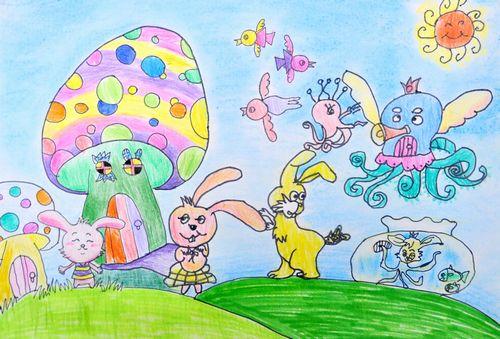 动物们来聚会简笔画 动物们来聚会图片欣赏 动物们来聚会儿童画画作品