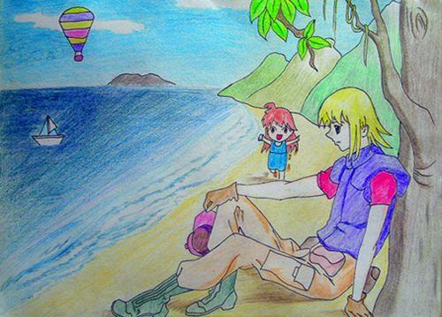 我和哥哥去海边简笔画_我和哥哥去海边图片欣赏_我和