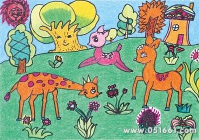 儿童画画 水粉画 温柔的小鹿儿童画画