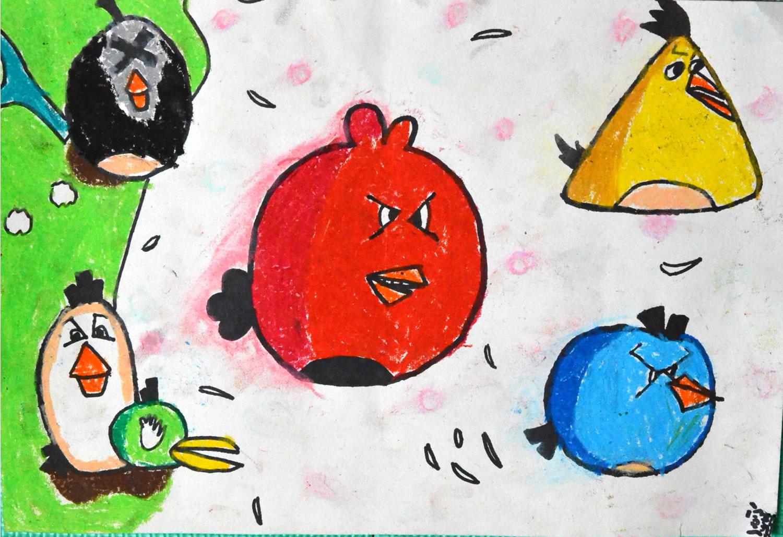 愤怒的小鸟简笔画 愤怒的小鸟图片欣赏 愤怒的小鸟儿童画画作品
