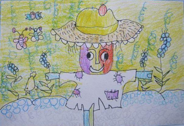 孤独的稻草人简笔画 孤独的稻草人图片欣赏 孤独的稻草人儿童画画作品