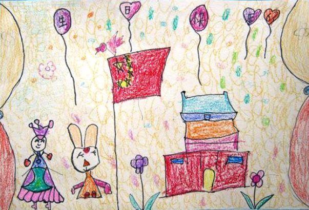 儿童画画 蜡笔画 我爱我的祖国儿童画画