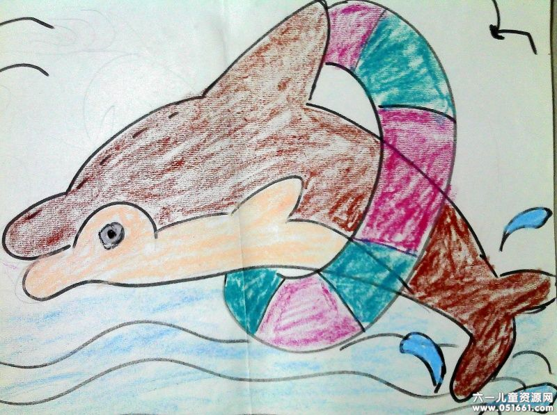 海豚在游泳简笔画 海豚在游泳图片欣赏 海豚在游泳儿童画画作品
