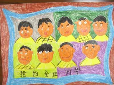 蜡笔画中秋节 作品教师