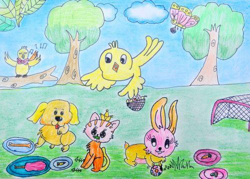 儿童画画 蜡笔画 动物们在野餐儿童画画