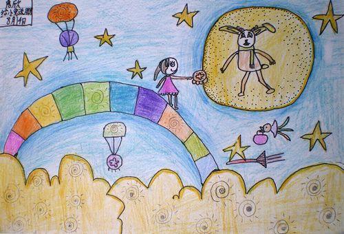 给玉兔送月饼简笔画 给玉兔送月饼图片欣赏 给玉兔送月饼儿童画画作品