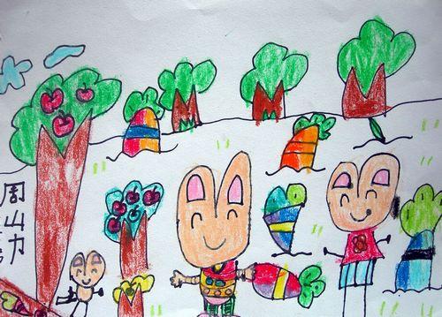 水彩画-拔萝卜的小兔子