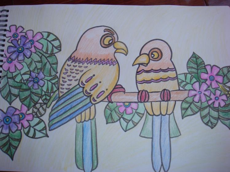 蜡笔画-光鲜亮丽的鹦鹉