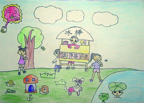 儿童画画 水粉画 假期去公园游玩儿童画画