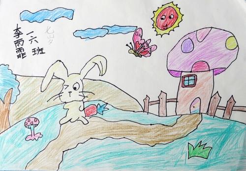 铅笔画-爱吃萝卜的小白兔