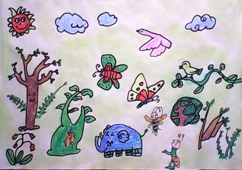 森林大会简笔画 森林大会图片欣赏 森林大会儿童画画作品