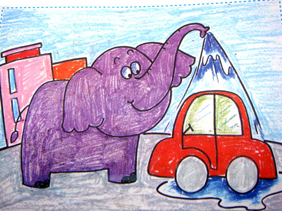儿童画画 蜡笔画 雨林中的大象儿童画画
