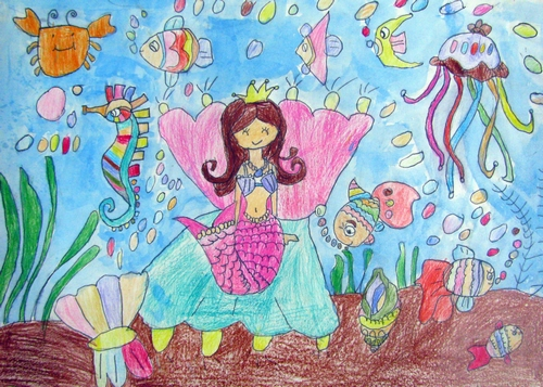 美人鱼和朋友们简笔画