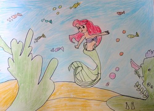 水彩画- 善良的美人鱼